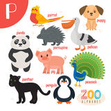 Letter P. Cute animals. Funny cartoon animals in vector.