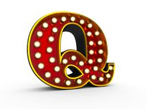 Letter P 3D Broadway Style. High quality 3D illustration of the letter Q in Broadway style with light bulbs illuminating it over white background vector illustration