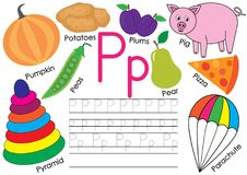 Letter P. English alphabet. Education for children. Writing practice with pictures. Letter P. English alphabet. Education for children. Writing practice with stock illustration