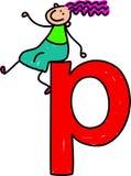 Letter P girl. Happy little girl sitting on giant letter P - lowercase version Royalty Free Stock Image