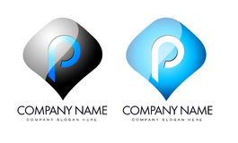 Letter P Logo. Illustration drawing representing letter p logo in blue and black colours. They can also be used as social icons or application logo for royalty free illustration