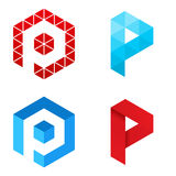 Letter P - Logo Set. Vector illustration of letter logo P stock illustration