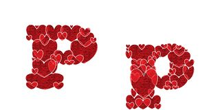 Letter P, made from hearts. Letter P, uppercase and lowercase of alphabet made from hearts Stock Photography