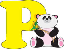 Letter P with a Panda Royalty Free Stock Photo