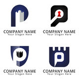 Letter P for Protection Concept Logo Stock Photos