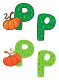 Letter P pumpkin Stock Images