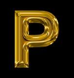 Letter P rounded shiny golden isolated on black. Background Stock Image