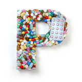 Letter P. Set of alphabet of medicine pills, capsules, tablets a. Nd blisters on white. 3d illustration royalty free illustration