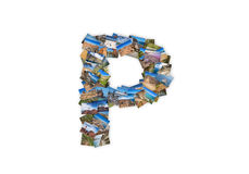 Letter P uppercase font shape alphabet collage Royalty Free Stock Photos