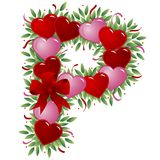 Letter P - Valentine letter. Letter P - with heart, bow, ribbon and leaf stock illustration