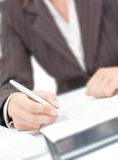 Letter on the paper. A secretaryl writing a letter on the paper Royalty Free Stock Photos