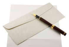 Free Letter Paper, Envelope And Pen Stock Image - 6015301