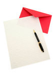 Letter paper and red envelope Stock Photography
