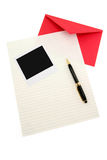 Letter paper and red envelope Royalty Free Stock Photos