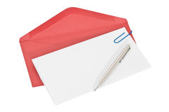 Letter paper and red envelope Royalty Free Stock Image