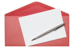 Letter paper and red envelope. Isolated on a white background Stock Image