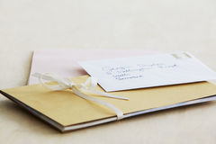 Letter and paper stationery elevated view close up studio shot Stock Photos