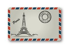 Letter from Paris with the Eiffel Tower painted. Stylization. Stock Image