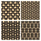 Letter paterns. Pattern derived from the shape of the letter A. Simple geometric patterns. Set of letter patterns. Seamless patter. Ns collection Royalty Free Stock Photos