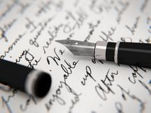 Letter and pen. Handwritten letter and fountain pen Stock Photography