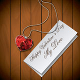 Letter with pendant on wood background Royalty Free Stock Photography