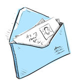 Letter and photos in envelope cartoon icon. Sketch fast pencil hand drawing illustration in funny doodle style royalty free illustration
