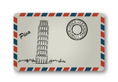 Letter from Pisa with the Leaning Tower painted. Stylization. Stock Photo