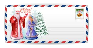 Letter post card to Santa Claus. Russian Santa Claus and Snow Maiden. Happy New Year text greeting card vector illustration Stock Photography