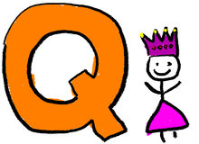 Letter Q. A childlike drawing of the letter Q, with a stick Queen person Royalty Free Stock Image