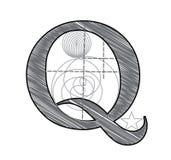 Letter Q. Vector Letter Q for design in architectural style vector illustration