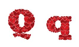 Letter Q of alphabet made from hearts. Letter Q, uppercase and lowercase of alphabet made from hearts Stock Image