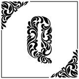 The letter Q. Decorative Font with swirls and floral elements. Vintage style.  Royalty Free Stock Image