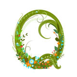 Letter Q floral latin decorative character alphabet lettering sign Royalty Free Stock Photography