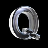 Letter Q in glass 3D Stock Photography