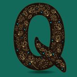 The Letter Q with Golden Floral Decor. Dark brown symbol. Yellow flowers and plants with metallic blazing effect. Blue small hearts. Vector Illustration Royalty Free Stock Photo