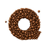 Letter Q made of chocolate bubbles, milk chocolate concept, 3d render.  royalty free illustration