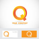 Letter q orange 3d logo icon Stock Photo