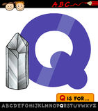 Letter q with quartz illustration Stock Photos