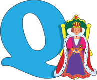 Letter Q with a Queen Royalty Free Stock Image