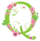 Letter Q with roses Royalty Free Stock Photos