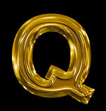 Letter Q rounded shiny golden isolated on black. Background Stock Images