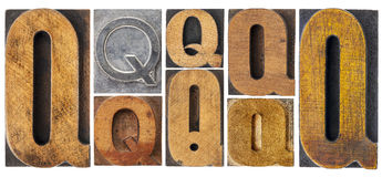 Letter Q in wood type blocks Stock Image