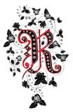 Letter R. There is letter R on pattern from roses stock illustration