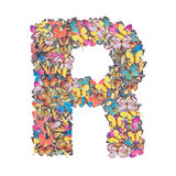 Letter R alphabet with butterfly Royalty Free Stock Photography