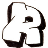 Letter R, Alphabet in graffiti style Royalty Free Stock Images