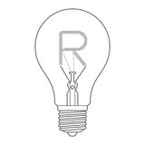 The letter R, in the alphabet Incandescent light bulb set. Outline style black and white color isolated on white background Royalty Free Stock Photography