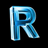 Letter R in blue glass 3D Royalty Free Stock Photos