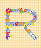The letter R Bright floral element of colorful alphabet in  Royalty Free Stock Images