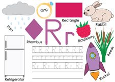 Letter R. Card with pictures and writing practice for preschool children. Learning English language. Letter R. Card with pictures and writing practice for Royalty Free Stock Photos