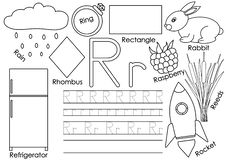 Letter R. Card with pictures and writing practice for preschool stock illustration